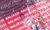 arrival of the stage Albenga - Genoa of the Tour of Italy wearing Pink Jersey